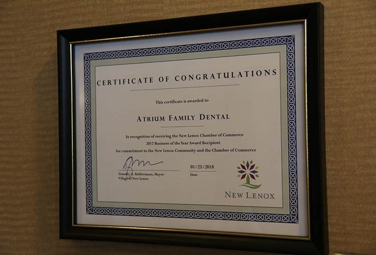 New Lenox Chamber of Commerce award certificate