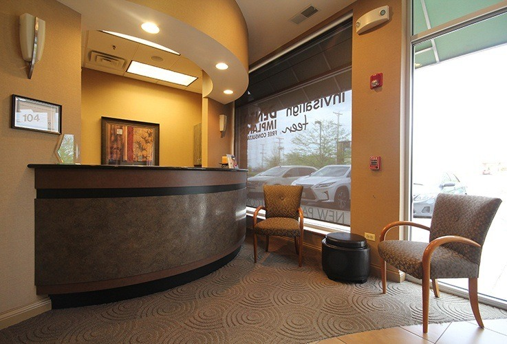 Welcoming dental reception desk